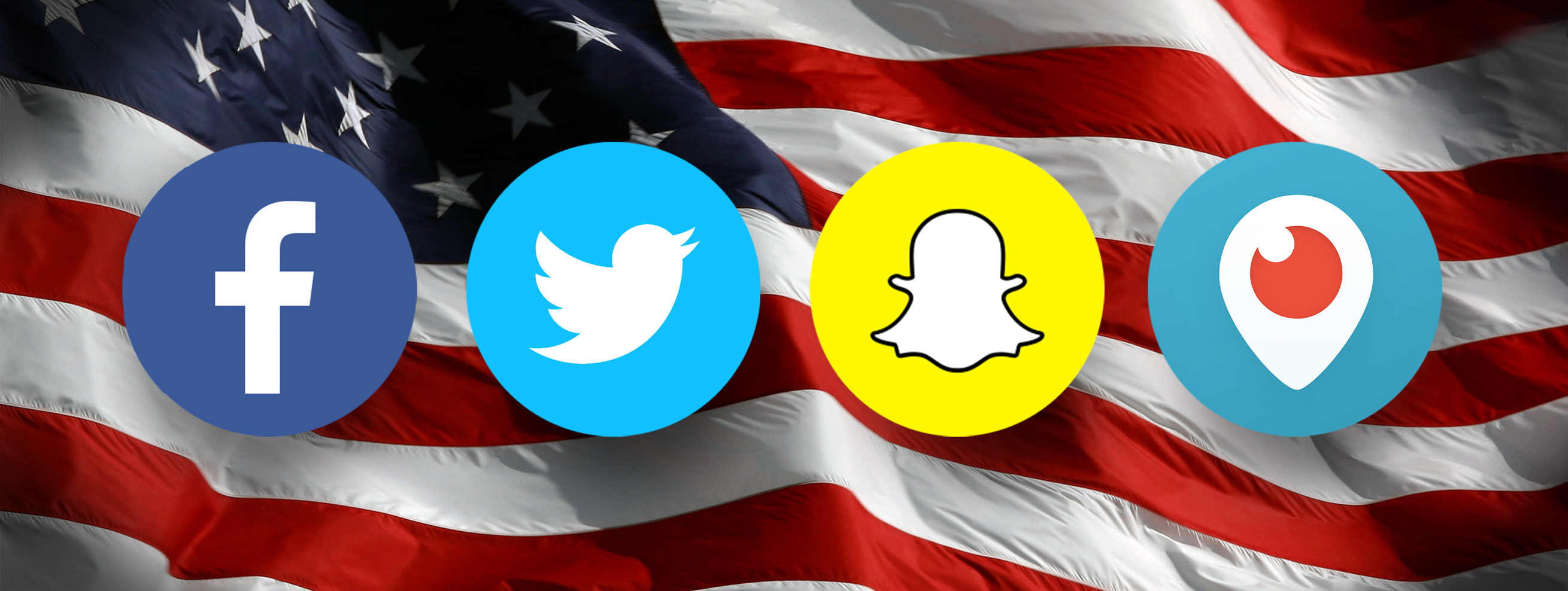 facebook, twitter, snapchat, and periscope icons in front of a waving American flag