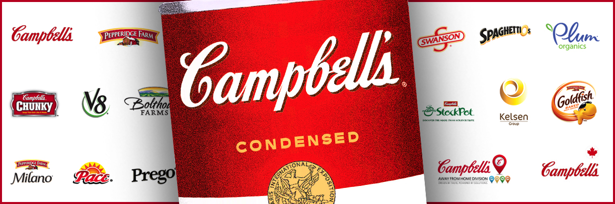 Campbell's Soup can surrounded on both sides by its subsidiaries