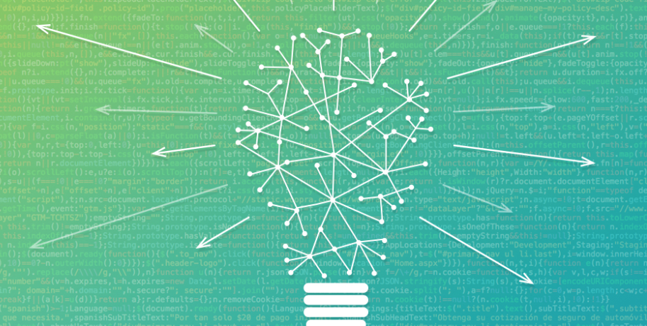 blue-green background with a light bulb made of arrows and bullet points