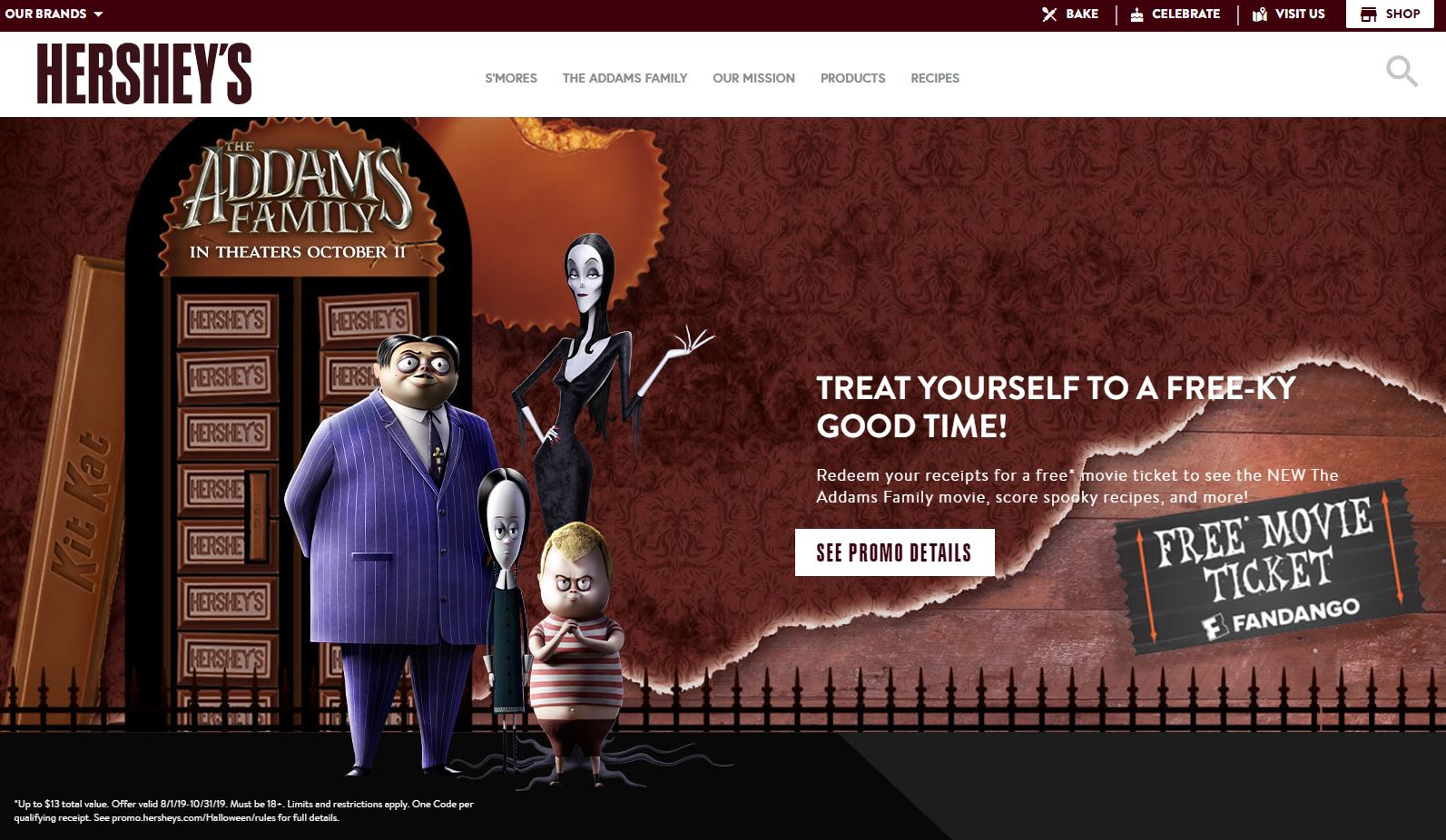 hersheys addams family homepage screenshot