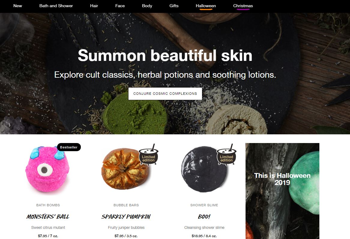 Image of lushusa.com homepage
