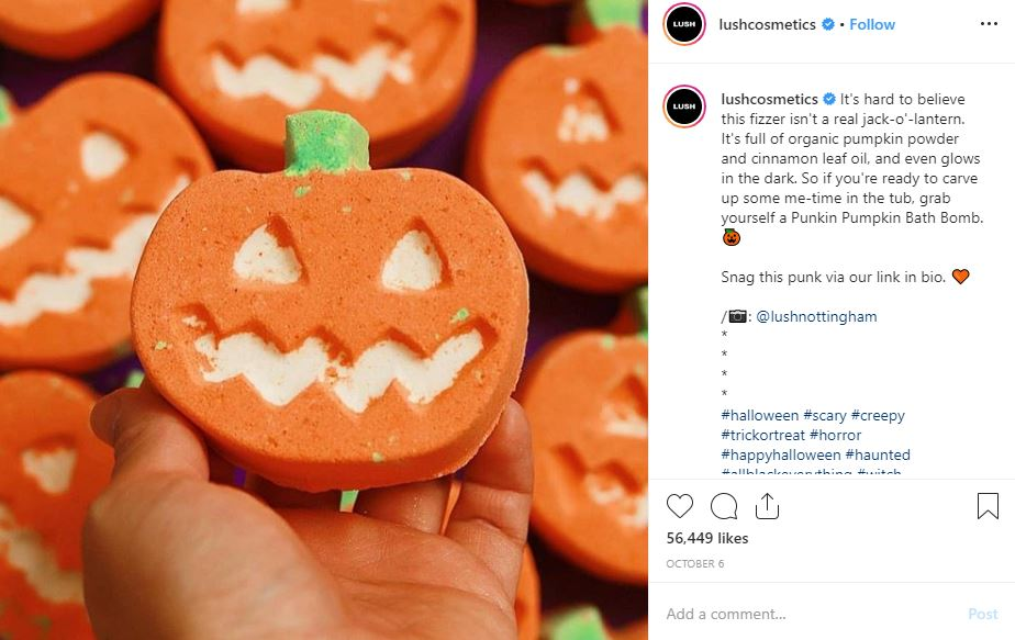 Image of lushcosmetics Instagram halloween post